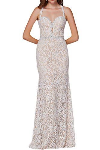 Sunvary Sexy pizzo Halter sirena, lunghezza intera, Evening Dresses Party Gowns White