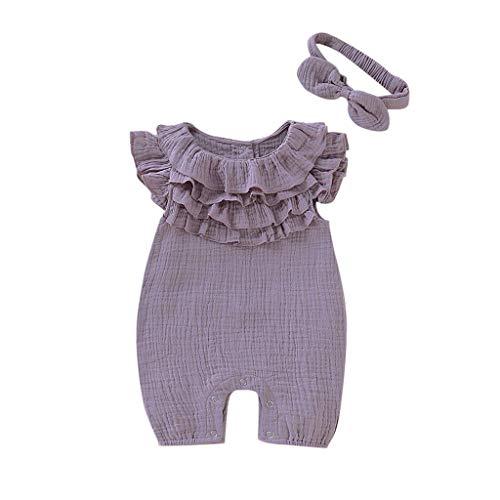 borenes Baby Kind Mädchen Einfarbig Overall Ärmellos Overall Lässig Strampler Klettern Kleid Stirnband Kleidung Outfits ()