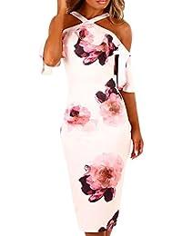 5fb25ab79edc4 Vestido de Fiesta Mujer ❤ Amlaiworld Mujer Impresión Vestido de Hombro  Vestido de Cóctel Floral de Noche Vestido Fiesta Mujer Largo Boda…