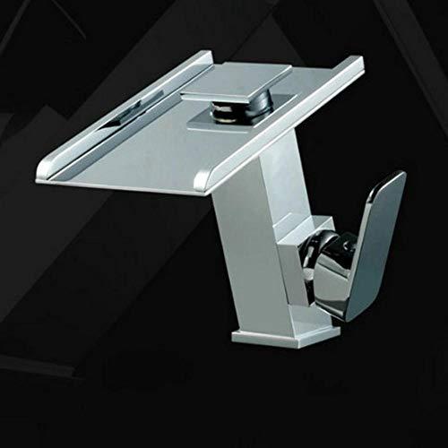 LLLYZZ Wasserfall-Hähne, Mischer u. Hähne Wasser-Energie LED Bassin-Mischer-Chrom-Einhandhahn 3 Farben ändern LED Hahn -