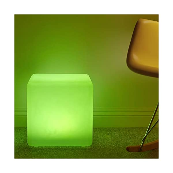 Shapelights® Indoor & Outdoor USB Chargeable Solar Powered Colour Changing Mood Light - Mini Cube 17.5cm