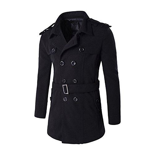 Men's double-breasted Plaid coat Farbe Schulter lange karierten mantel Mantel, XL, schwarz -