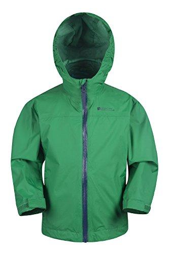 Mountain Warehouse Torrent Wasserdichte Kinderjacke - versiegelte Nähte, Reißverschlusstaschen, verstellbare Funktionen - ideal zum Reisen, Campen, Wandern Grün 98 (2-3 Jahre)