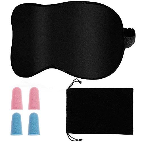 Rovtop Antifaz para Dormir Sleep Mask Eye Mask Correa Ajustable 100% de Seda Pura de Doble Cara con 2 par de Ear Plug y una Bolsa de Transporte.