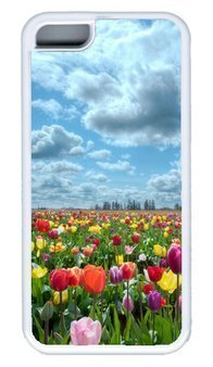 Beautiful Tulips Garden DIY PC White iphone 5C Case Perfect By Custom (Tulip Garden Light)