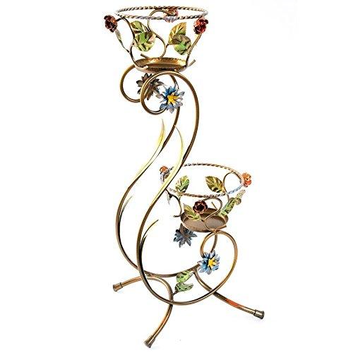 Portavaso alto in ferro battuto con rose e foglie a due posti giardino 72 cm