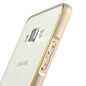 Dual Tone Circular Edge Shaped Metal Bumper Case Cover for Samsung Galaxy J5 [ NOT FOR J5 - 6 ( 2016 ) ] - Gold