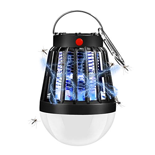 ShinePick UV Insektenvernichter, Mückenlampe, 2 in 1 Solar & USB Wiederaufladbar Mückenkiller Campinglampe, Wasserdichter Tragbare Elektrisch Zeltlampe für Innen und Außen Garten Reise