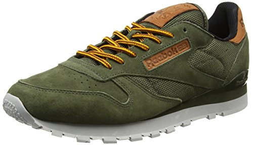 Reebok Herren Classic Leather Ol Sneakers, Grün (Poplar Green / Steel / Semisolargld / Ginger / Pwred), 39 EU -