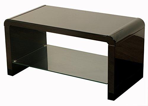 Couchtische Atlanta (The One Atlanta schwarz Kaffee mit Glas Regal-Couchtisch schwarz-Schwarz glänzend Kaffee Tisch-Wohnzimmer Möbel)