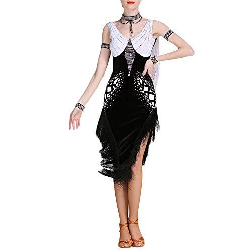 Latin Dance Dress Frauen Diamant Professionelle Latin Dance Kleid Quaste Backless Ballroom Dancewear Tango Salsa Rumba Samba Rhythmus Kostüm Leistung Wettbewerb Kleid ( Farbe : Schwarz , Größe : L )