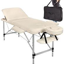 Bakaji Lettino Massaggio Alluminio Pieghevole 3 ZONE Massaggi Fisioterapia SPA Centro Benessere Estetista Professionale Beige 12Kg con Borsa Trasporto