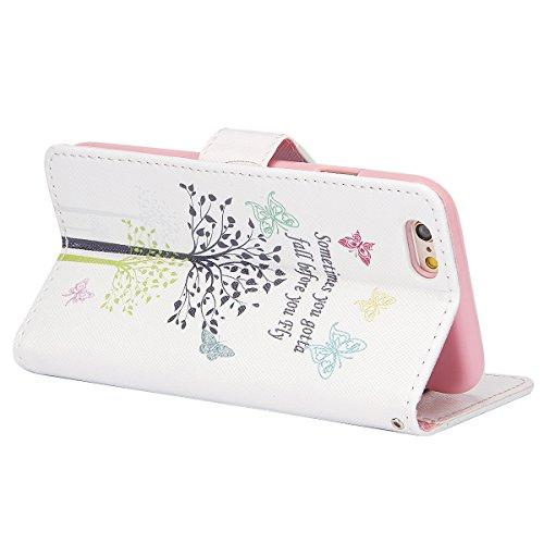 iPhone SE Hülle, iPhone 5S Hülle,iPhone 5 Hülle,SainCat Apple iPhone SE / 5S / 5 Reliefprägung(Schmetterlings-Rose,Blitz-Diamant)Ledertasche Brieftasche im BookStyle PU Leder Hülle Wallet Case Folio S Schmetterlings-Baum
