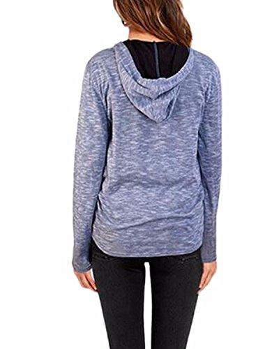 ZANZEA Femmes Casual Lettres Mode Manches Longues à Capuche Pull Shirt Haut Blouse Bleu clair