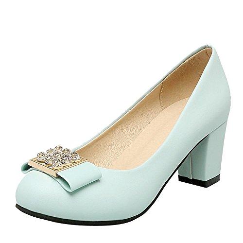 Mee Shoes Damen chunky heels runde Geschlossen Pumps Blau