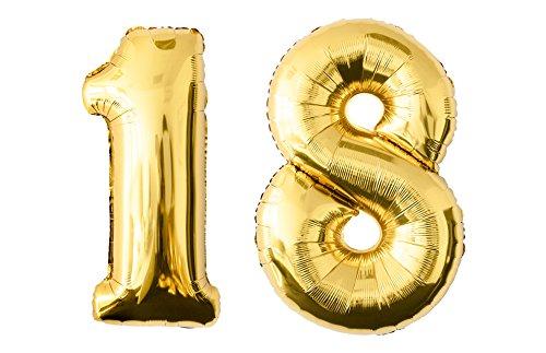 allon in der Farbe gold Heliumballon Riesenzahl Luftballon Party Kindergeburtstag Geburtstag Deko 100 cm (18 - Gold) (Spa-party-dekorationen Ideen)