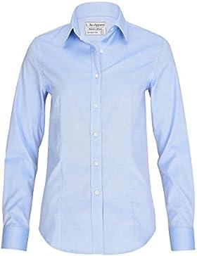 ALLBOW Elegantes Blusas Blancas y Azules Para Mujer, 100% Algodón, Camisa de Manga Larga, Ligeramente Cónica