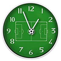 Yavso Wall Clock for Kids, 30 cm Silent Non Ticking Wall Clock for Kids Bedroom Wall Decoration Football Clock for Boys