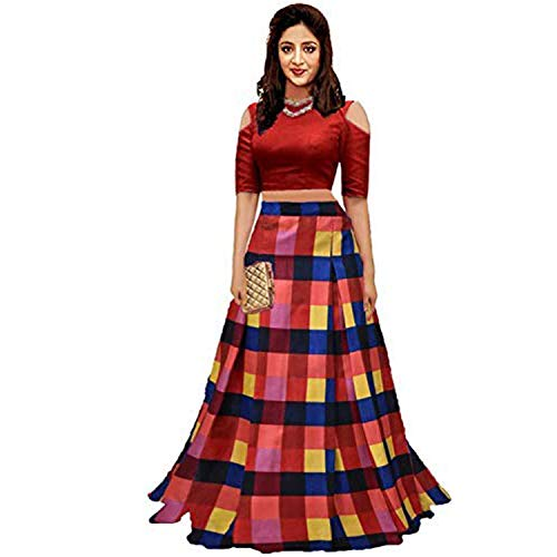 Clickedia Women\'s Cotton Silk Lehenga Choli With Blouse Piece_Red Checks_Free Size