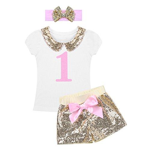 Tiaobug Baby Kleidung Set Mädchen 1 Jahr Geburtstag Outfits Geschenk Schleife Haarband + T-Shirt + Pailetten Shorts Paimit Audruck Festliche Sommer Kleidung Weiß&Gold 6-12 Monate