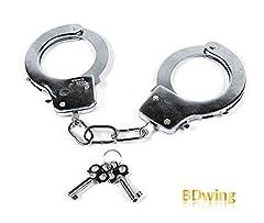 Idea Regalo - Bdwing - Manette in Metallo con Chiavi. Bomboniere per Police SWAT Role Play. Manette Giocattolo per Bambini in Metallo - Accessori per Feste (Argento)