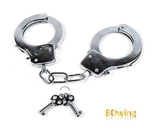 BDwing - Esposas de Metal con Llaves. Favores de Fiesta para la policía Swat Juego de rol. Esposas de Metal de Juguete para niños: Accesorio para Disfraces (Plata)