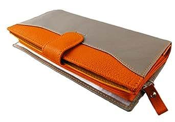 Compagnon Cuir femme - Portefeuille - Porte Chéquier - Porte Carte - Porte Monnaie - Couleur Taupe/Orange - 19 x 11,5 x 3 cm