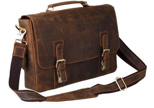 peacechaos® Herren Top Schicht echtes Kuh Leder Schulter Aktentasche attache 39,6cm Laptop-Tasche Tote, braun (Braun) - FBA_BC25168 (Attache Aktentaschen)
