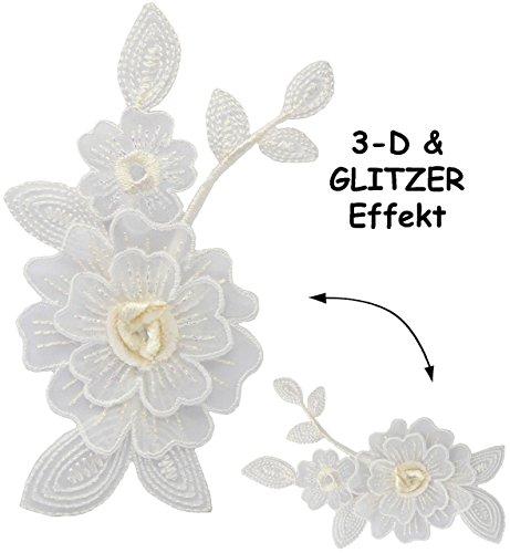 alles-meine.de GmbH 1 Stück _ Bügelbild -  Edle 3-D Effekt _ Blumenranke - Weiß mit Glitzer  -...