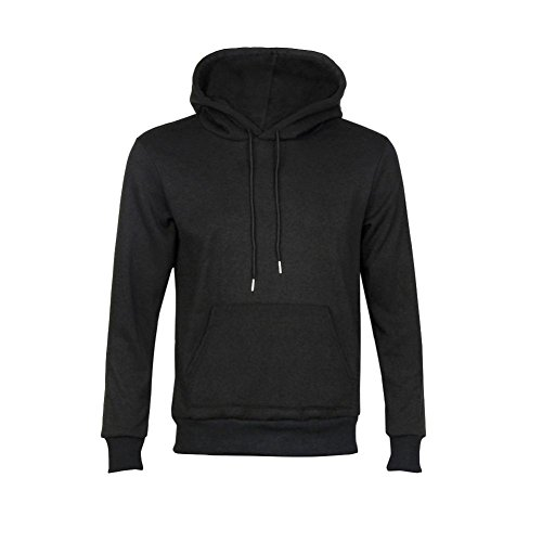 Herren Hoodie Xinan Pur Warmes Sweatshirt Winterjacke Oberbekleidung Pullover (L, Schwarz)