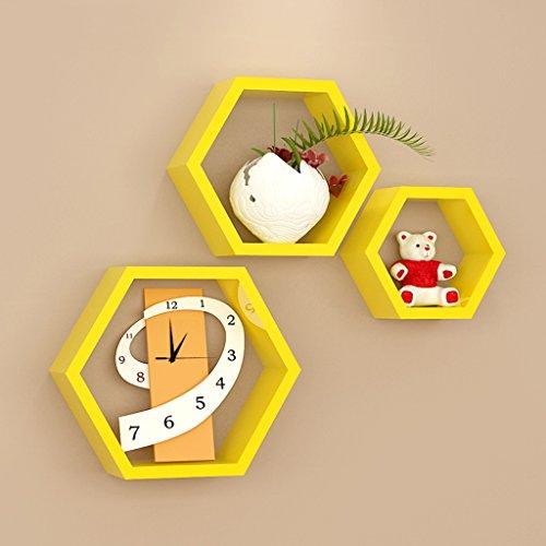 3 griglie esagonali mensole gialle, in legno, soggiorno tv parete decorativo montaggio a parete montaggio a parete (30 cm, 24 cm, 16 cm)