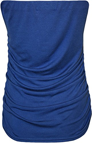 WearAll - Grande taille bandeau top ruché sans manches - Hauts - Femmes - Tailles 42 à 46 Bleu royal