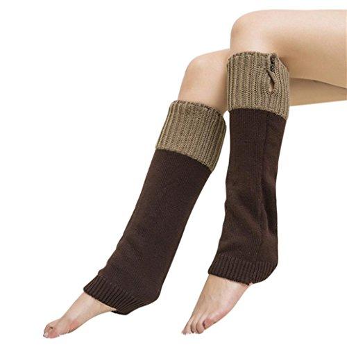 Koly_onne inverno scaldamuscoli uncinetto caldo maglia legging è calzini del caricamento del sistema (caffè) - Casa Casa Miscela Di Caffè