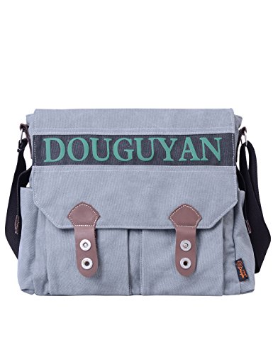 Douguyan Uomo Borsa a Spalla per Scuola Palestra a tracolla Tela Messenger Viaggio E43607 Khaki 607 Grigio