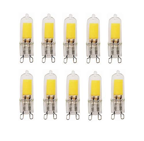 Bombillas LED, Base G9, 3W (30W Halógena Equivalente), 260LM, 3000K / 6000K, AC200-240V G9 Bombillas no regulables para iluminación del hogar, paquete de 10Material de la carcasa: PCBase de lámpara: Base de lámpara G9 estándarDimensión: Diámetro 1.4C...