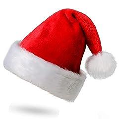 Idea Regalo - Funhoo Cappello da Babbo Natale Peluche per la Maggior Parte degli Adulti, Cappellini Natale, Cappellino Babbo, Hat Costume Ornaments (1 Pezzo)