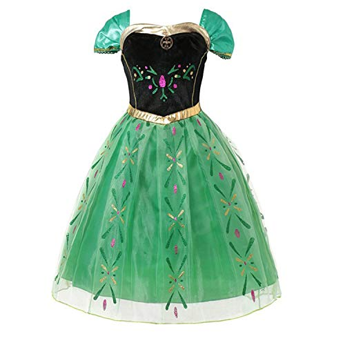 Kostüm Cowboy 2t - HOTSTREE Anna Green Princess Dress for Baby Girl Embroidery Shoulderless Floral Anna Party Dress Kid Cosplay Clothes Summer Fancy Costume Beige 2T