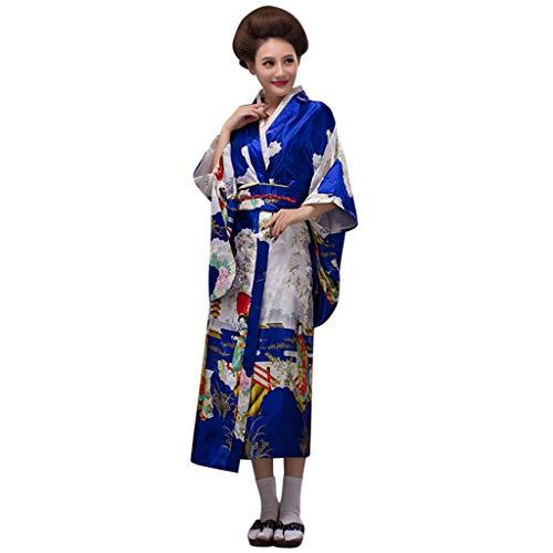 Lazzboy Frauen Print Kimono Traditionelles Japanisches Kleid Fotografie Cosplay Kostüm Kirschblüten Anime Japanischen Kleider Kleidung Halloween(Blau,One - Fee Kostüm Selbstgemacht