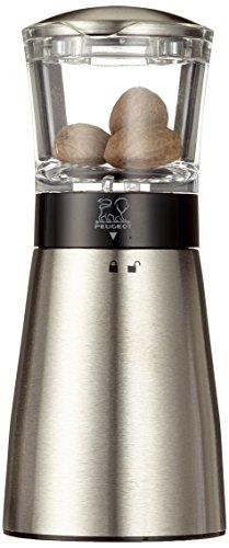 Peugeot Muskatmühle Daman mit Vorratsbehälter für 3 Nüsse, manuelle Gewürzmühle für feines Mahlen, Muskatnuss Mühle im modernen Design, Edelstahl & Acryl, 15 cm