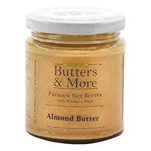 Butters & More Vegan Natural Almond Butter (200G) Single Ingredient, Unsweetened Nut Butter. Creamy, Keto & Diabetic Friendly.