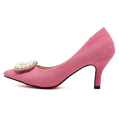 AalarDom Femme Couleur Unie à Talon Correct Pointu Chaussures Légeres Rose