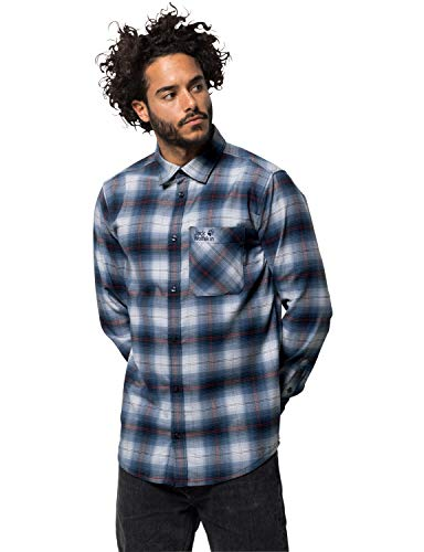 Jack Wolfskin Herren Light Valley Shirt Hemd für Reise Freizeithemd, Night blau Checks, XXL