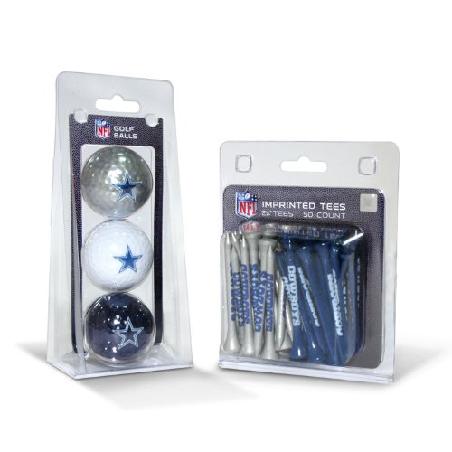 Team Golf NFL Logo aufgedruckte Golfbälle (3 Count) & 5,1 cm Regulierung Golf Tees (50 Count), Mehrfarbig, Dallas Cowboys, One Size Fits All