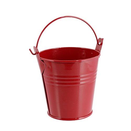 Fenteer Mini Metall Eimer Dose Box Candy Buckets Geschenk Blecheimer für Hochzeit Party Baby Duschen - Rot, M