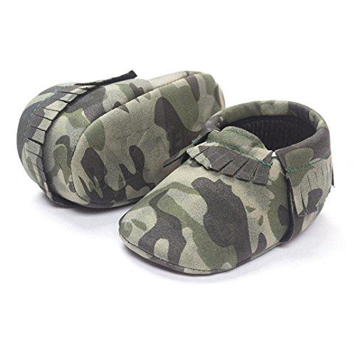 Hunpta Baby Kinderbett Fransen Pailletten Schuhe Kleinkind weiche Sohle Turnschuhe Freizeitschuhe (Alter: 12~18M, Army Green) Army Green
