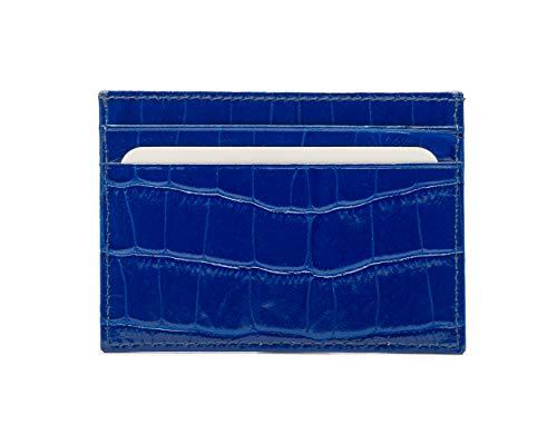 SageBrown Cobalt Croc Flat Credit Card Wallet - Croc Embossed Wallet