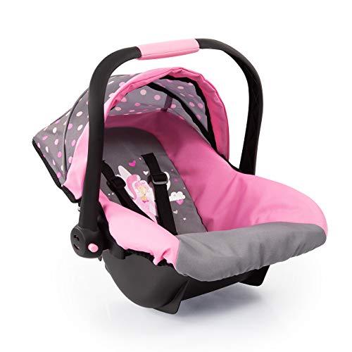 Bayer Design 67966AA Puppen-Autositz EasyGo, Puppenzubehör, passend zu Vario-Puppenwagen, mit Abdeckung, grau, mit Feemotiv und modernen Muster -