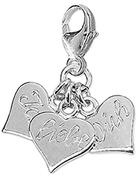 CLEVER SCHMUCK Silberne Charm Anhänger Herz 3-teilig mit