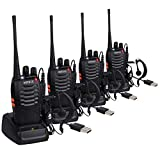 eSynic 4pcs Walkie Talkies-2 way radio Long Range Walkie Talkie with Original Earpieces