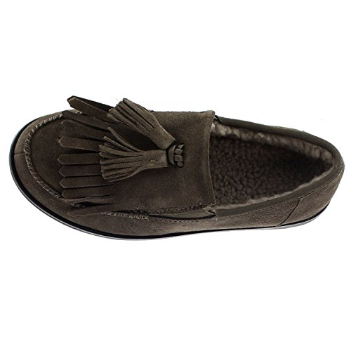 FitFlop Womens Tassel Fringe Loafer Suede Shoes Gris